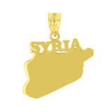 Yellow Gold Syria Country Pendant Necklace