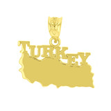 Yellow Gold Turkey Country Pendant Necklace