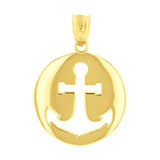 Yellow Gold Anchor Nautical Pendant Necklace