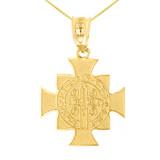 "Yellow Gold Saint Benedict Cross Pendant Necklace (1.06"")"