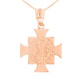 "Rose Gold Saint Benedict Cross Pendant Necklace (1.06"")"