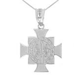 "White Gold Saint Benedict Cross Pendant Necklace (1.06"")"