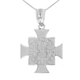 "Sterling Silver Saint Benedict Cross Pendant Necklace (1.06"")"