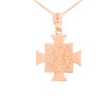 Rose Gold Saint Benedict Cross Pendant Necklace