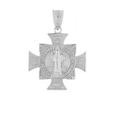 Sterling Silver Saint Benedict Cross Pendant Necklace