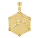 Yellow Gold  Firefighter Hexagon Diamond Pendant Necklace