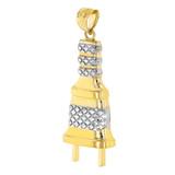 Yellow Gold Electric Plug Diamond Cut Textured Pendant Necklace