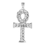 Sterling Silver Textured Ankh Egyptian Cross Pendant Necklace
