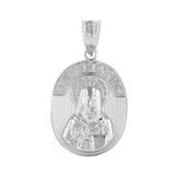 Sterling Silver Saint Nectarios of Aegina Greek Orthodox Engravable Pendant Necklace