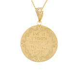 "Yellow Gold St Michael Archangel Diamond Pendant Necklace ( 1.02"" )"