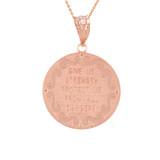 """Rose Gold St Michael Archangel Diamond Pendant Necklace ( 1.02"""" )"""