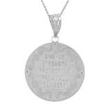 """White Gold St Michael Archangel Diamond Pendant Necklace ( 1.14"""" )"""