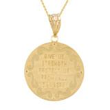 "Two Tone Yellow Gold St Michael Archangel Diamond Pendant Necklace ( 1.14"" )"