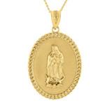 """Solid Gold Cuban Link Framed  Virgen de Guadalupe Oval Medallion Pendant Necklace  (1.29"""")"""
