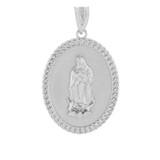 """Sterling Silver Cuban Link Framed  Virgen de Guadalupe Oval Medallion Pendant Necklace  (1.29"""")"""