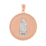 "Two Tone Solid Rose Gold Cuban Link Framed Virgen de Guadalupe Circle Medallion Pendant Necklace (1.18"")"