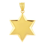 Solid Yellow Gold Star Pendant Necklace
