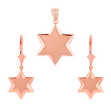 14K Solid Rose Gold Star Pendant Necklace Earring Set