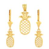 14K Solid Yellow Gold Pineapple Pendant Earring Set