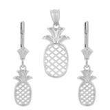 Sterling Silver Pineapple Pendant Earring Set