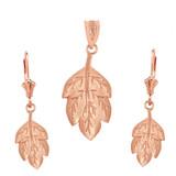 14K Solid Rose Gold Matte Detailed Textured Leaf Pendant Earring Set