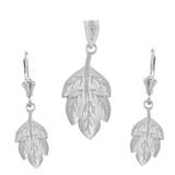 Sterling Silver Matte Detailed Textured Leaf Pendant Earring Set