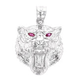 White Gold Roaring Bengal Tiger With Red CZ Eyes Pendant Necklace