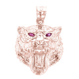 Rose Gold Roaring Bengal Tiger With Red CZ Eyes Pendant Necklace