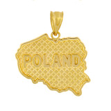 Solid Yellow Gold Country of Poland Geography Pendant Necklace