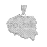Solid White Gold Country of Poland Geography Pendant Necklace