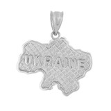 Solid White Gold Country of Ukraine Geography Pendant Necklace
