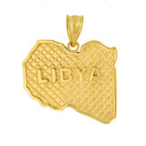 Solid Yellow Gold Country of Libya Geography Pendant Necklace