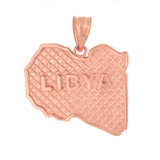 Solid Rose Gold Country of Libya Geography Pendant Necklace