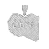 Solid White Gold Country of Libya Geography Pendant Necklace