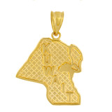 Solid Yellow Gold Country of Kuwait Geography Pendant Necklace