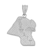 Solid White Gold Country of Kuwait Geography Pendant Necklace