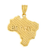 Solid Yellow Gold Country of Brazil Geography Pendant Necklace