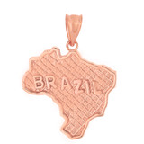 Solid Rose Gold Country of Brazil Geography Pendant Necklace