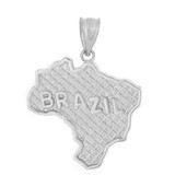 Sterling Silver Country of Brazil Geography Pendant Necklace