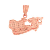 Solid Rose Gold Country of Canada Geography Pendant Necklace