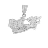 Solid White Gold Country of Canada Geography Pendant Necklace
