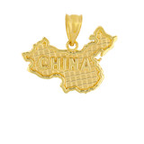 Solid Yellow Gold Country of China Geography Pendant Necklace