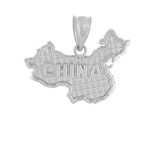 Solid White Gold Country of China Geography Pendant Necklace