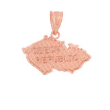 Solid Rose Gold Country of Czech Republic Geography Pendant Necklace