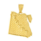 Solid Yellow Gold Country of Egypt Geography Pendant Necklace