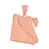 Solid Rose Gold Country of Egypt Geography Pendant Necklace