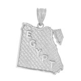 Solid White Gold Country of Egypt Geography Pendant Necklace