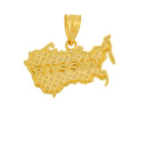 Solid Yellow Gold Country of Russia Geography Pendant Necklace