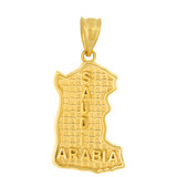 Solid Yellow Gold Country of Saudi Arabia Geography Pendant Necklace