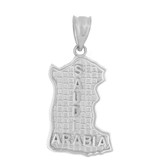 Sterling Silver Country of Saudi Arabia Geography Pendant Necklace